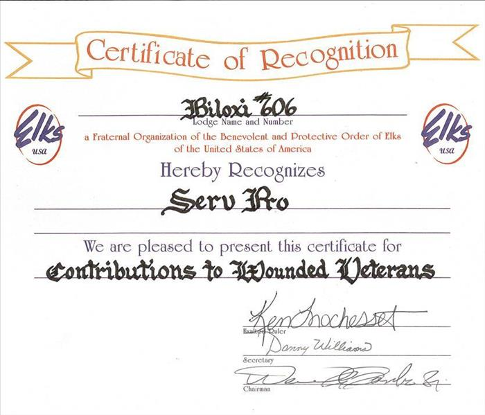 Certificate of Recognition-Wounded Veterans